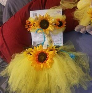 Baby girl sunflower tutu, top, matching plush